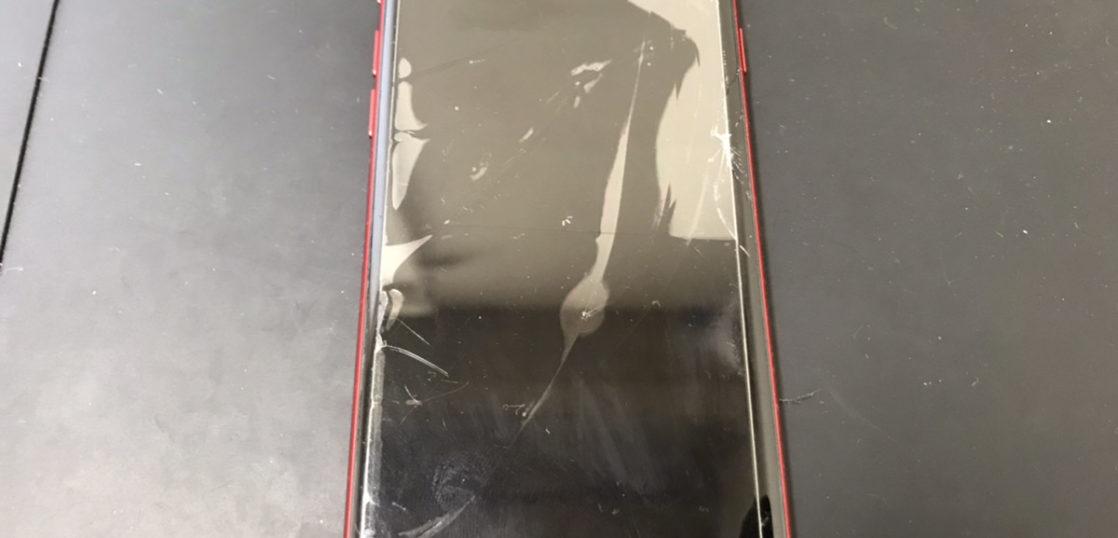 画面修理前のiPhone7(PRODUCT)RED